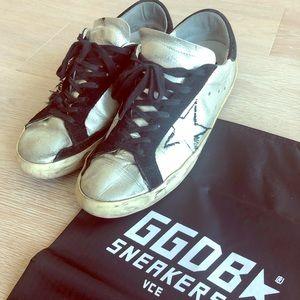 Golden Goose Superstar Sneakers (Silver & Black)